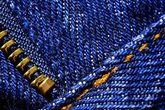 Denim Blue Jeans (donjuanmon) Tags: donjuanmon nikon denim bluejeans blue macro macromondays hmm theme textile texture orange thread zipper teeth