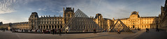 Panorama of the Louvre Museum (Dmitry Yelloff) Tags: france paris musee louvre europe palace tourist exhibition architecture european culture sky sunlight travel line old people traditional visit group french formal outdoors tourism art style baroque exterior museum medieval cloud urban column building place famous scene monument structure streetlight sundown sunshine sun shadows long pyramid glass sunset street