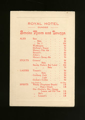 Royal Hotel - Drinks Menu (Dundee City Archives) Tags: royalhotel unionstreet dundee drinks menu alcohol smokeroom cocktails liquers cider cyder cigars cigarettes prices ales stout lager spirits gin 1950s old yesteryear