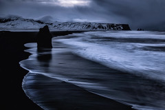 Reynisfjara beach  before the sunrise (yan08865) Tags: reynisfjara beach iceland sand black volcanic travel landscapes pavlis nature rocks sunrise mood dark earth view solo vik myrdal south volcano waves water ocean sea seascapes longexposure