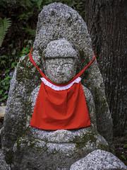 Ojizo-sama statue in Kiyomizu-dera (mutovkin) Tags: baby g9 japan kyoto lumix lumixg9 ojizosama panasonic panasonicg9 travel apron red spring statue