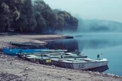 Fishing boats (alkovalda) Tags: fishing lake dam boats night bluehour fog
