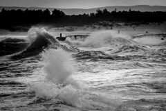 _MG_9771 (L.P.M PHOTOGRAPHY) Tags: birds clouds sand dunes pier wall seascape speyside moray adventure travel 7dmkii canon blackwhite harbour harbor lossiemouth lossie north surge storm stormy beach landscape scotland sea sky ocean water wave