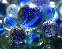The Blues! (RiverCrouchWalker) Tags: glass blue bokeh theblues macromondays macro marbles