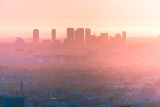 Soft sunset on Los Angeles skyscrapers