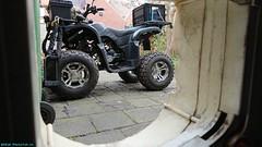 The ATV, as the cat sees it. (PhotoTJH) Tags: phototjh phototjhnl quad atv allterrainvehicle road legal weg legaal zwart black egl eglmotor lyda lyda203e1 lyda203e2 203 203e1 203e2 motorpromo 4stroke china chinese