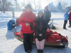 Sophia and Olivia by Ann Bancroft's Sled She Took to the South Pole (Pictures by Ann) Tags: snowshoeing winter sport exercise physicaleducation fun weekend activity sophia olivia lilleskogan littlepark scandia minnesota mn