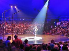 Cirqe de Soleil, Montreal, Quebec (duaneschermerhorn) Tags: circus performance spotlight colours brightcolour blue purple audience entertainment people men women performer manwoman