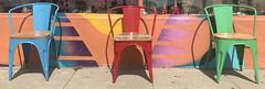 California Color.jpg (remiklitsch) Tags: chairs green blue red street store santamonica california retro color remiklitsch city urban miksang random three trio purple yellow colorful