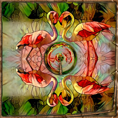 Flamingo Dance (PaulO Classic. ©) Tags: deepdream photoshop gimp picmonkey