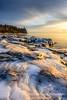 Sunrise mood (susannevonschroeder) Tags: lakesuperior golden great ice lakes landscape lighthouse north shore sunrise winter