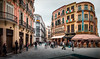 Calle Granada, Malaga. (Johnners61) Tags: calle granada malaga costadelsol costa andalucia spain espania panorama pano street city town tealandorange teal orangeandteal processed orange effect microfourthirds micro four thirds olympuspen ep5 olympus pen