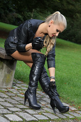 Anna 110 (The Booted Cat) Tags: sexy long blonde hair model girl woman leather miniskirt nylon nylons pantyhose gloves heels highheels overkneeboots overknee boots smoking cigarette