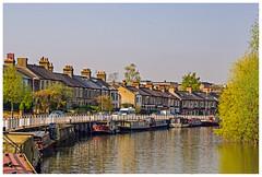 Riverside, Cambridge P4200014  HDR (Davey's Shots) Tags: narrowboats moorings houseboats terracedhouses riverside cambridge reflections rivercam