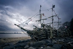 'The Black Pearl' (Taken By Me Photography) Tags: takenbyme takenbymephotography abandoned adventure art black pearl ship driftwood clouds sky beach derelict decay d750 explore exploring forgotten left nikon neglect north theblackpearl pirate ruin rusty sail uk wwwtakenbymephotographycouk