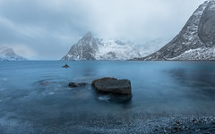 Lofoten bay (Mika Laitinen) Tags: canon5dmarkiv europe hamnøy lofoten norway norwegiansea scandinavia blue cloud cold landscape longexposure mountain nature ocean outdoors rock sea serene shore sky water winter nordland no