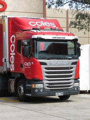 Coles Scania G440 truck & trailer (22/03/2018) (RS 1990) Tags: coles scania g440 truck semi trailer red wightman transport australia adelaide southaustralia teatreeplaza teatreegully modbury thursday 22nd march 2018