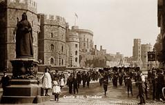 Castle Hill, Windsor (footstepsphotos) Tags: windsor berkshire castle hill people marching guards statue victoria old vintage postcard historic past