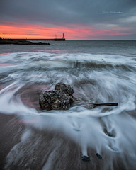 On the way Home! (Squareburn) Tags: amble sunset watermovement waves northumberland lighthouse wash seascape