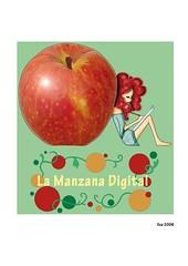 La Manzana Digital (elbuzonamarillo) Tags: manzana digital diseño web logo logotipo chica pelirroja dibujar cuaderno vestido verde roja círculo rama rizado pelo