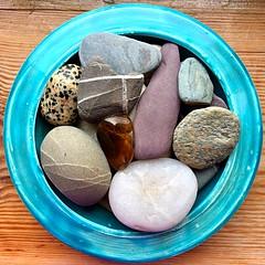 Stone Circle (Julie (thanks for 9 million views)) Tags: bowl blue ceramic texture pebble 2018 one photo e 2018onephotoeachday iphonese squareformat squaredcircle rock stone
