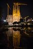 Sagrada Família Nightime reflection (Photos-by-Jamie) Tags: sagradafamília sagradafamilia barcelona night reflection cathedral church gaudi plazadegaudi cranes bascilica pond