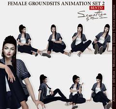SEmotion Female GroundSits Set 2 - 10 HQ Bento Sitting & Lying Animations (Marie Sims) Tags: semotion sl secondlife ao animations fullperm