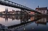 regensburg before sunrise (phlickrron) Tags: regensburg city cityscape donau bridge water reflection fujifilm bavaria moon sunrise