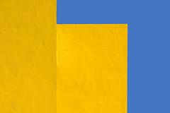 Yellow walls (Jan van der Wolf) Tags: map18163vvv yellow geel geometric gevel geometry geometrisch lines panels walls wall muur muren fuerteventura minimalism minimalistic minimalisme minimal minimlistic sky blue blauw abstract
