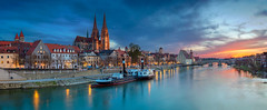 Regensburg Panorama. (Rudi1976) Tags: regensburg architecture bavaria cityscape panoramic sunset dusk blue bridge buildingexterior cathedral church city urbanscene traditionalculture danuberiver europe germany history house famousplace old reflection river sky skyline stone twilight tourism tower town traveldestinations unesco water landmark outdoors riverside waterfront downtown boat building