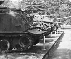 American armour, Hue (Hammerhead27) Tags: m48 m41 display citadel museum old line bw blackandwhite monochrome battle hue machine metal gun weapon war vietnam american captured tracks vehicle armor armour tank