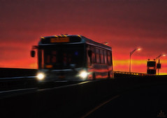 Sunset Express (Jersey JJ (Thank you for 2 Million views!!)) Tags: njt new jersey transit bus sunset express red sky fractalius j2 driverpic