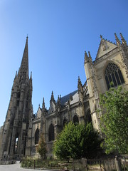 Basilique Saint-Michel with bell tower and spire, from Place Meynard, Bordeaux, France (Paul McClure DC) Tags: bordeaux france gironde nouvelleaquitaine july2017 historic architecture church