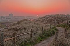 Sand Dune Dawn (Geoff Henson) Tags: path boardwalk fences planks grass sand sun dawn daybreak sunrise sunset red green hazy footpath dunes