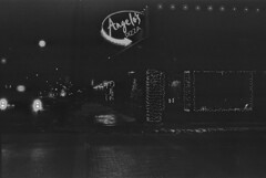 (vmRob) Tags: bw bnw blackwhite black white film 35mm analog monochrome pizza lakewood cle angelos angelospizza underexposed pentax k1000 kentmere winter