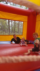 Bounce Houst at Rose Family Crawfish Boil - March 2018 (Flan de Coco) Tags: bounce house play slide fun baby kids lydia rose march 2018 mother mommy daughter finn