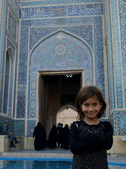P9295394 (bartlebooth) Tags: yazd yazdprovince jamehmosque iran persia middleeast mosque masjid unesco tile blue iranian architecture mosaic olympus e510 evolt silkroad persian adobe minaret chadah chador