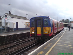 455750 (Rob390029) Tags: swt south west trains class 455 455750 5750 train track tracks rail rails travel travelling transport transportation transit public emu electric multiple unit clapham junction railway station clj london red colour colours colourful