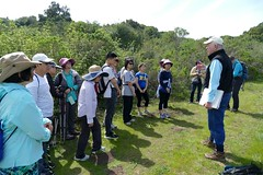 Carl telling about wildlife cameras on the preserve. (openspacer) Tags: carl education people tourgroup