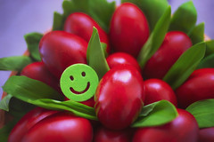 Ready (petrapetruta) Tags: green red easter colorful smiley eggs ramsons