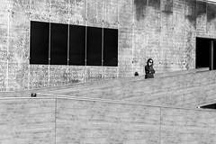 Alone (petia.balabanova(tnx for +3 million views)) Tags: streetart street wall monochrome blackandwhite girl alone phone travel malaga spain nikond800 2470mm lines shapes minimal