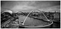Panohyperamabolic (ianrwmccracken) Tags: engineering landscape art sky newcastle water england city gateshead bridge tyne theatre building baltic tilt sage urban panoramic grey river contemporary steel centre architecture venue bw mono millennium cloud