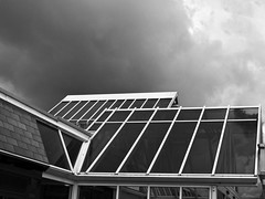 roof under stormy sky (HUNGRYGH0ST) Tags: glass roof dark sky skies stormy simple elegant geometrical minimal mono monochrome black white bw