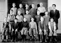 Class photo (theirhistory) Tags: children kids boys school teacher jumper trousers shirt jacket wellies rubberboots blackboard shoes