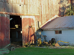 Ornamental corner (LivGreen07) Tags: farm sicklebar mower building wood dairy michigan