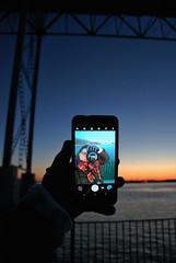 me again (Sofeha) Tags: bordercity windsor detroit detroitmichigan windsorontario bridge engineering night sunset sun water reflection lights design contrast
