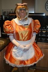 Orange maid uniform 18 (sissybarbie1066) Tags: sissymaid sissy maid uniform orange shot red taffeta slave collar