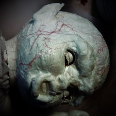 Adding the veins (tishpitt1) Tags: doll thriftstorefind monster veins blood decoupage glue artdoll horrordoll arts crafts creative upcycle toy