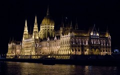Hungary's Parliament Building at Night from Danube (pluffmud2010) Tags: hungary parliament architecture night danube budapest rivercruise gate1 outdoor canon eos october