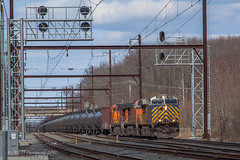 CSXT K140 @ Oxford Valley, PA (Darryl Rule's Photography) Tags: 2018 april bnsf bigoakrd buckscounty cptl crex csx csxt catenary clouds cloudy diesel diesels freight freightcar freighttrain freighttrains ge k140 oil oiltrain oiltrains oxfordvalley pa pennsylvania railroad railroads septa spring sun sunny trel tankcar tankcartrain tankcars tankers townshiplinerd train trains trentonsub westbound